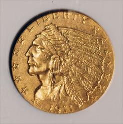 1911-D $2.5 Indian -- NGC AU58