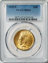 1912-S $10 Indian -- PCGS MS62