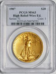 1907 High Relief $20 Wire Rim Saint -- PCGS MS63