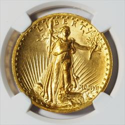 1907 $20 High Relief Wire Rim -- NGC MS63