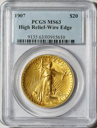 1907 $20 High Relief Wire Edge-- PCGS MS63