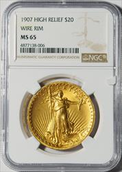 1907 $20 High Relief Wire Rim -- NGC MS65