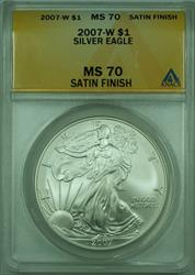 2007 W Satin American  Eagle S$1  ANACS Satin Finish