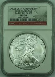2011 American  Eagle S$1  NGC Early Releases 25th Anniversary