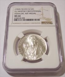 1965 Heraldic Art So-Called 50 Cents Silver Medal Eli Whitney Bicentennial MS66 NGC