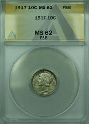 1917 Mercury  Dime 10c  ANACS FSB FB Toned (Better )