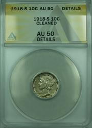 1918 S Mercury  Dime 10c  ANACS Details Cleaned
