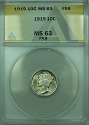 1919 Mercury  Dime 10c  ANACS FSB FB