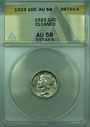 1923 Mercury  Dime 10c  ANACS Details Cleaned