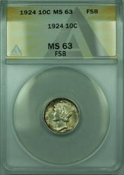 1924 Mercury  Dime 10c  ANACS FSB FB Toned (Better )