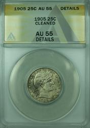 1905 Barber  Quarter 25c  ANACS Details Cleaned