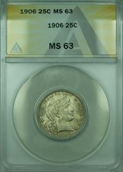 1906 Barber  Quarter 25c  ANACS
