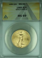 1989 American Eagle $25  1/2 Oz AGE  ANACS