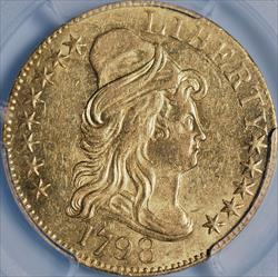 1798 $5 Capped Bust Large Eagle, 13 Star Reverse -- PCGS MS61