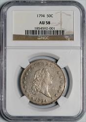 1794 Flowing Hair Half Dollar -- NGC AU58