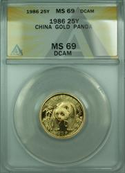 1986 China 25 Yuan Panda .999   BU UNC ANACS DCAM