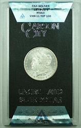 1878 CC VAM 11 TOP 100 GSA Morgan   $1 ANACS w/ Box & COA