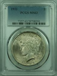 1922 Peace   $1  PCGS Lightly Toned Better  (29) D