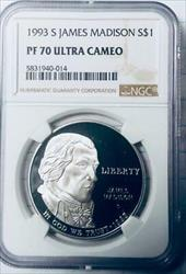 1993-S Madison Bill of Rights Silver Dollar Commemorative - NGC  UCAM