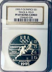 1995-P Olympics Track and Field Silver Dollar Commemorative - NGC  UCAM