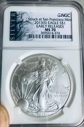 2013-(S)  American Silver Eagle - NGC  -  Mint State 70 - San Francisco