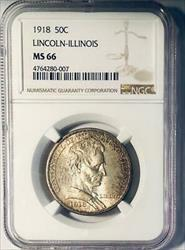 1918 Lincoln Commemorative Silver Half Dollar - NGC  - Mint State 66
