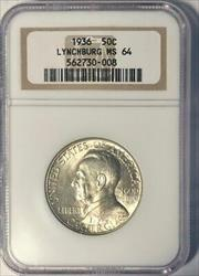 1936 Lynchburg Commemorative Silver Half Dollar - NGC  - Mint State 64