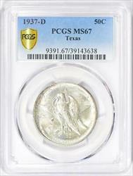 1937-D Texas Commemorative Silver Half Dollar - PCGS - Mint State 67 -