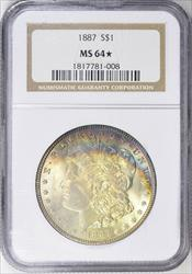 1887 Morgan    NGC  Star  Mint State 64  Star Morgan