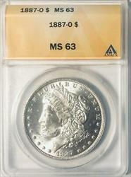 1887 O Morgan    ANACS  Certified Mint State 63