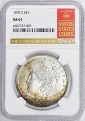 1890 O Morgan    NGC   Rainbow Colors  Red Book Label