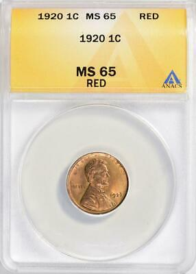 1920 Lincoln Cent  ANACS RD  Mint State 65 Red Gem Uncirculated