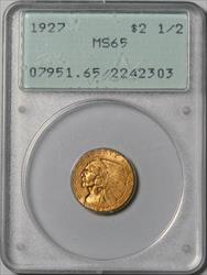 1927 $2.5 Indian -- PCGS MS65