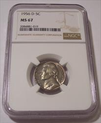 1956 Jefferson Nickel MS67 NGC