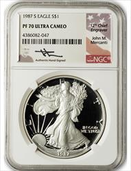 1987 S $1 Proof Silver Eagle NGC PF70 Ultra Cameo John Mercanti Signed