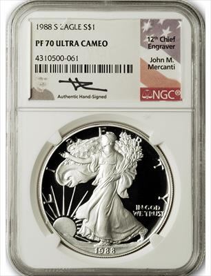 1988 S $1 Proof Silver Eagle NGC PF70 Ultra Cameo John Mercanti Signed