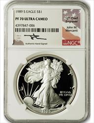 1989 S $1 Proof Silver Eagle NGC PF70 Ultra Cameo John Mercanti Signed