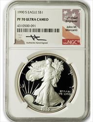 1990 S $1 Proof Silver Eagle NGC PF70 Ultra Cameo John Mercanti Signed
