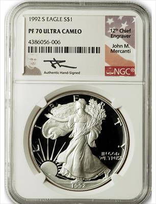 1992 S $1 Proof Silver Eagle NGC PF70 Ultra Cameo John Mercanti Signed
