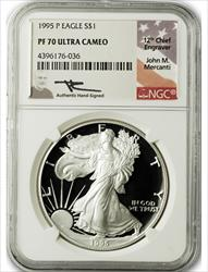 1995 P $1 Proof Silver Eagle NGC PF70 Ultra Cameo John Mercanti Signed