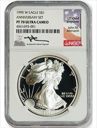 1995 W $1 Proof Silver Eagle NGC PF70 Ultra Cameo John Mercanti Signed