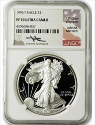 1996 P $1 Proof Silver Eagle NGC PF70 Ultra Cameo John Mercanti Signed