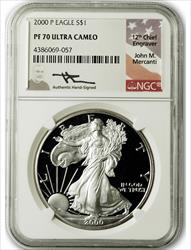 2000 P $1 Proof Silver Eagle NGC PF70 Ultra Cameo John Mercanti Signed