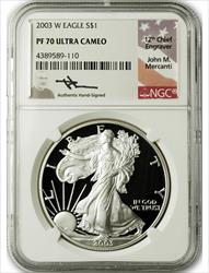 2003 W $1 Proof Silver Eagle NGC PF70 Ultra Cameo John Mercanti Signed