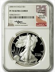 2004 W $1 Proof Silver Eagle NGC PF70 Ultra Cameo John Mercanti Signed