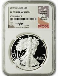 2010 W $1 Proof American Silver Eagle NGC PF70 Ultra Cameo John Mercanti Signed