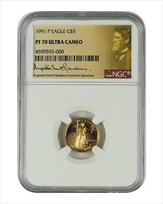 1991 1/10 oz U.S. Mint Proof Gold Eagle NGC PF70 Ultra Cameo