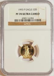 1993 1/10 oz U.S. Mint Proof Gold Eagle NGC PF70 Ultra Cameo