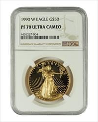 1990 1 oz U.S. Mint Proof Gold Eagle NGC PF70 Ultra Cameo