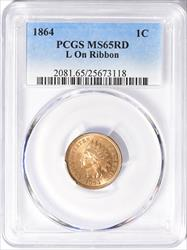 1864 1C Indian Head Cent L On Ribbon PCGS MS65RD